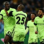 Yaya Toure of Manchester City celebrates scoring his goal to make the score 1-3 during the UEFA Champions League Round of 16 First Leg match between Dynamo Kiev and Manchester City played at Olimpiyskiy National Sports Complex, Kiev on February 24th 2016